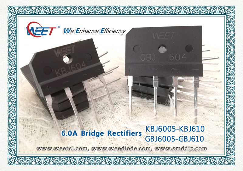 WEE Technolgoy Single Phase 6.0 AMPS. Glass Passivated Bridge Rectifiers GBJ604 and KBJ604