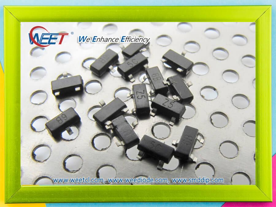 WEET NPN Silicon Epitaxial Planar Transistors SOT-23 BC848A BC848B BC848C BC849A BC849B BC849C