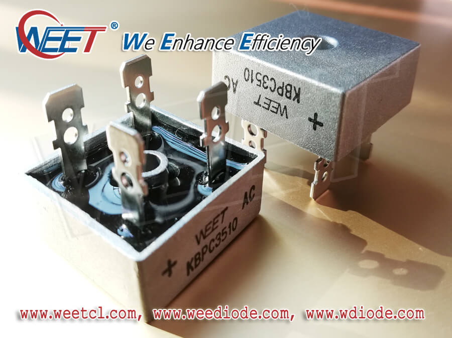WEET Different Package of Bridge Rectifiers - Plug in, Flat Pin, Round Pin, SMD Leaded Terminal